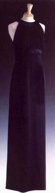 Designed by Victor Edelstein. Midnight blue silk crepe halter neck dress. $77,000.00
