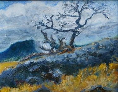 Burris Tree. You can see Turtle Mountain in the background. Acrylic on canvas visit Milansart.com