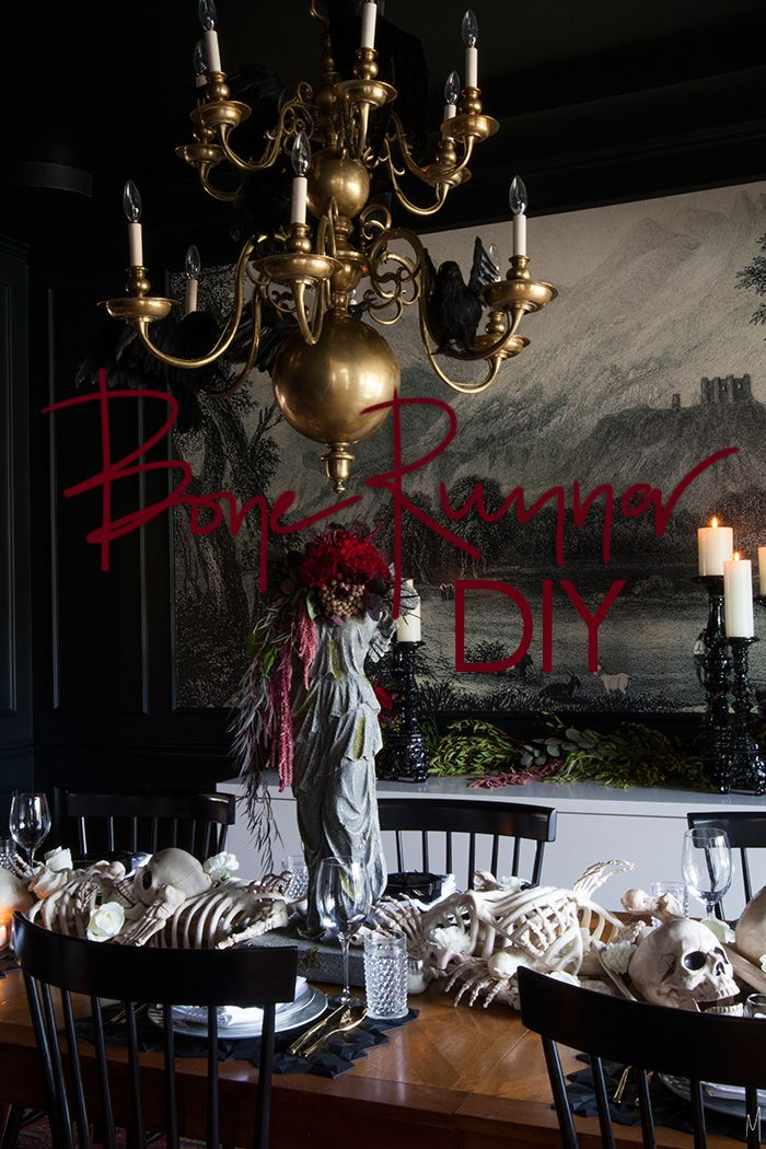 halloween bone table runner