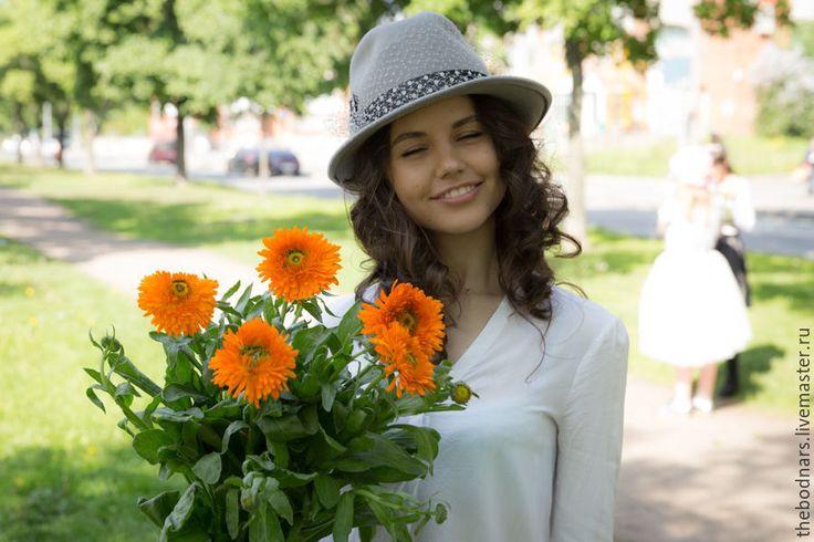 Купить Шляпа федора Арина - серый, однотонный, шляпа, шляпка, шляпка женская, федора