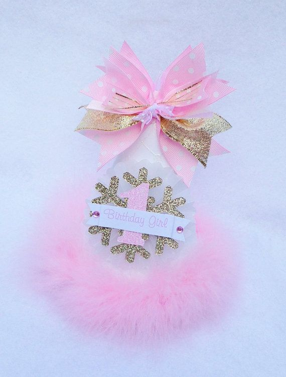 Pink Gold and White Winter Onederland by LittlePinkTractor on Etsy