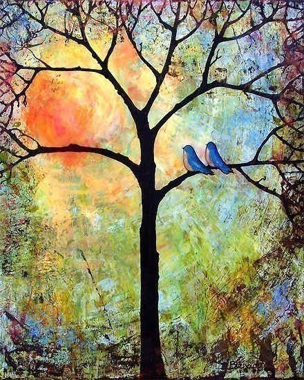 mixed media colorful tree with two bluebirds