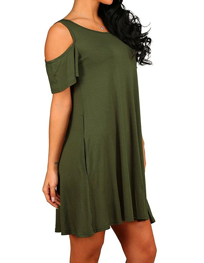 HAOMEILI Womens Summer Cold Shoulder Tunic Top Swing T-Shirt Loose Dress with Pockets
