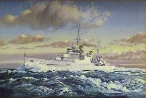 HMS Manchester (15). Builder: Hawthorn Leslie, Hebburn. Laid down: 28 March 1936. Launched: 12 April 1937. Commissioned: 4 August 1938. Fate: Scuttled on 13 August 1942 off Tunisia. Class and type: Town-class light cruiser. Displacement: 11,930 tons. Length: 591 ft 6 in (180.29 m). Beam: 64 ft 9 in (19.74 m). Draught:20 ft 6 in (6.25 m). Speed: 32 knots (59 km/h).
