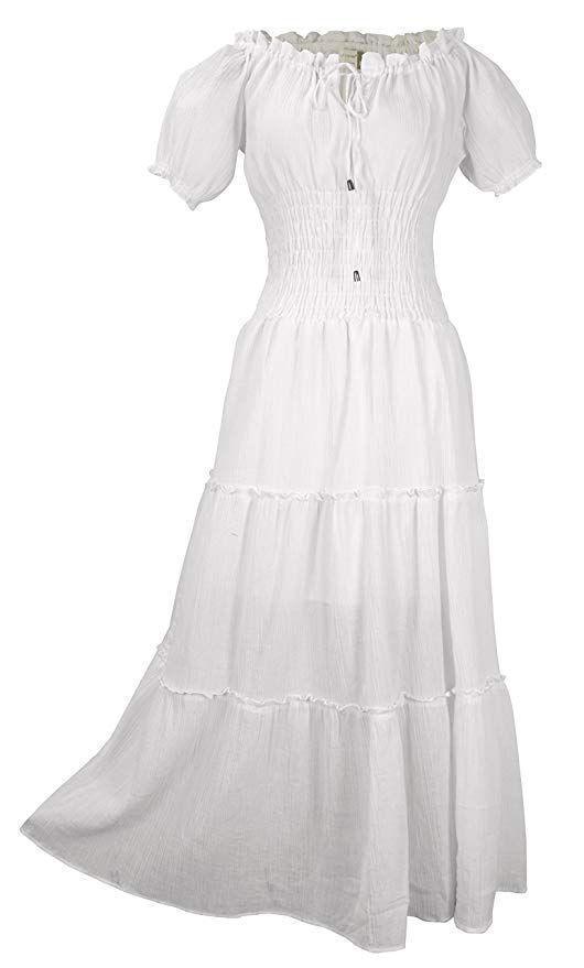 fdd8cc1e3e Peach Couture Womens Renaissance Vintage 100% Cotton Smocked Gypsy ...