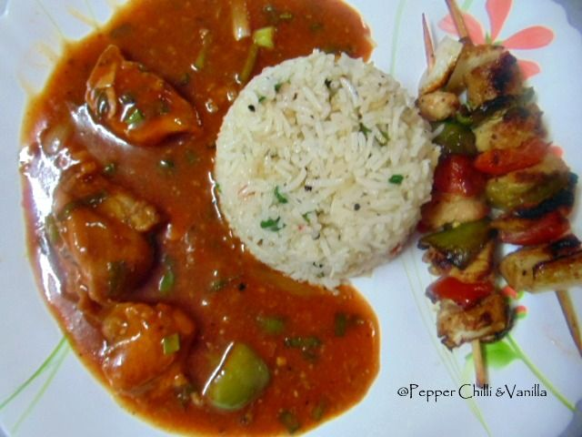 shashlik with fried rice and chicken manchurian gravy