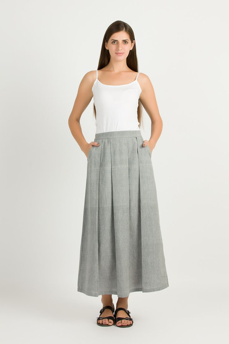 Long Grey Maxi Skirt | Pleated Cotton Skirt With Pocket