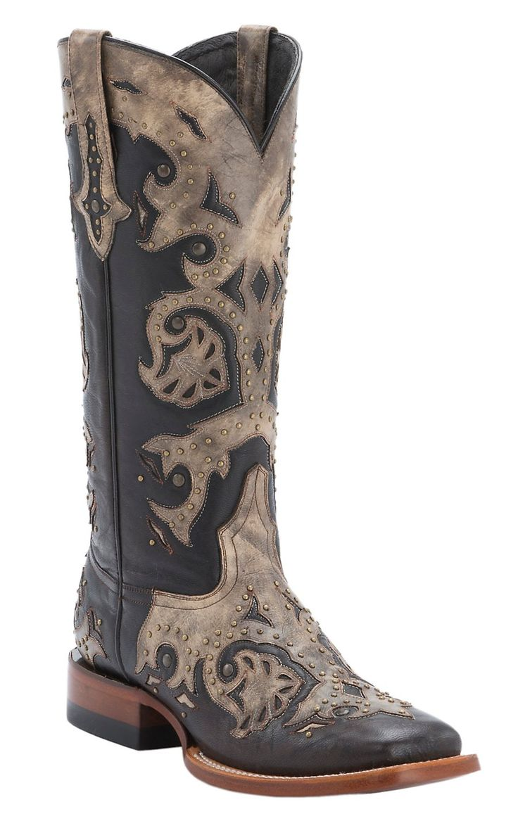 Lucchese® 1883 Women's Chocolate with Tan Mad Dog Overlay Double Welt  Square Toe Western Boots