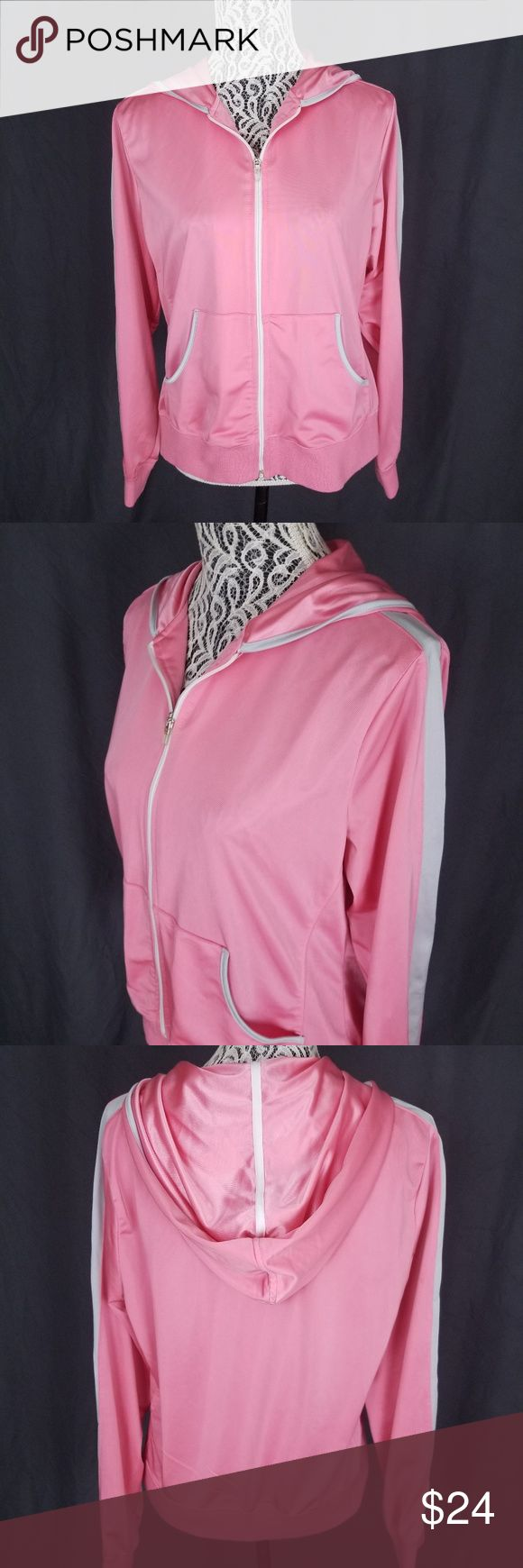 Gloria Vanderbilt Sport Pink Zip Up Hooded Jacket Gloria Vanderbilt Sport Pink Zip Up Hooded Jacket with White Trim - Size XL  Features: Silky feel, comfortable material Track style jacket Zip up front closure Hooded Front pockets Pink with white trim  Excellent used condition, gently worn, no major signs of wear or flaws (EUC).  Marked Women's XL Gloria Vanderbilt Tops Sweatshirts & Hoodies