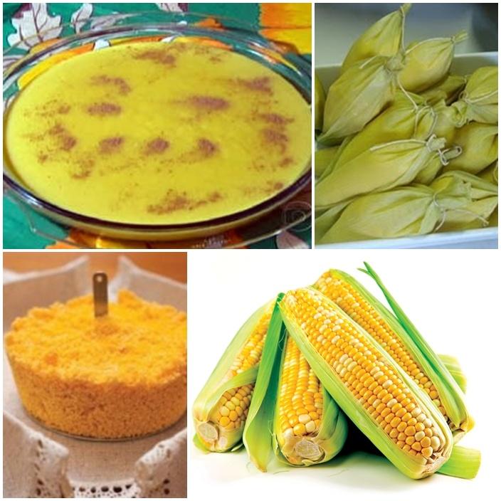 Milho, milho e mais milho. Comidas típicas das festas juninas, todas a base de milho verde: canjica, pamonha, cuscuz, bolo de milho, etc.