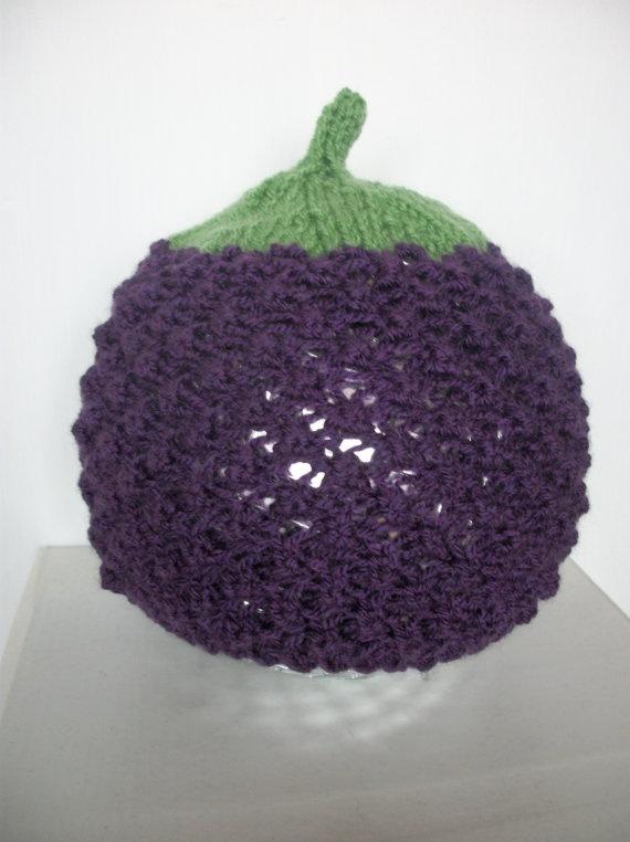 Baby Blackberry Hat Hand Knitted Beanie 36 by thekittensmittensuk, $16.00