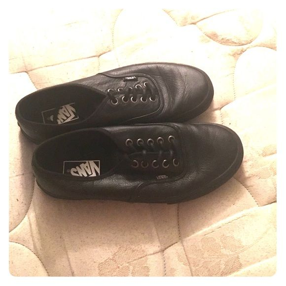 All black leather vans NEVER BEEN WORN!!! Authentic all black vans made out of leather! Vans Shoes Sneakers