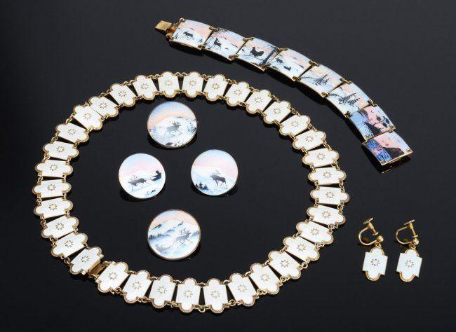 Norwegian Sterling Enamel Jewelry Collection