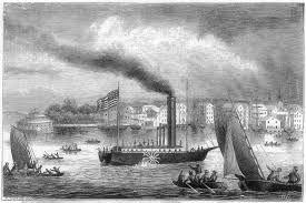 El barco a vapor fue creado por Robert Fulton en 1803. Creo un barco cuyo propulsor era una rueda con paletas, movida por una máquina de vapor. En Francia no fue bien acogida, por lo Robert Fulton continuo sus experimentos en Estados Unidos. Los primeros verdaderos buques transatlánticos eran de vapor. Por Rubén Ortega Asensio