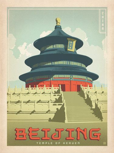 A collection of world travel posters inspired by the golden age of poster design.