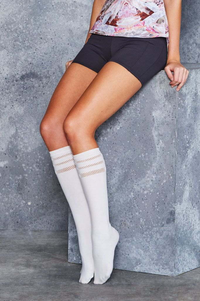 Sporty Stripes White Knee Highs - LIMITED ($20AUD) by BlackMilk Clothing