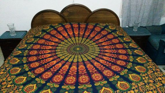 Bedspreads – Hippie Bedding Multi Mandala Tapestry Wall Decor – a unique product by IndianCraftPalace on DaWanda