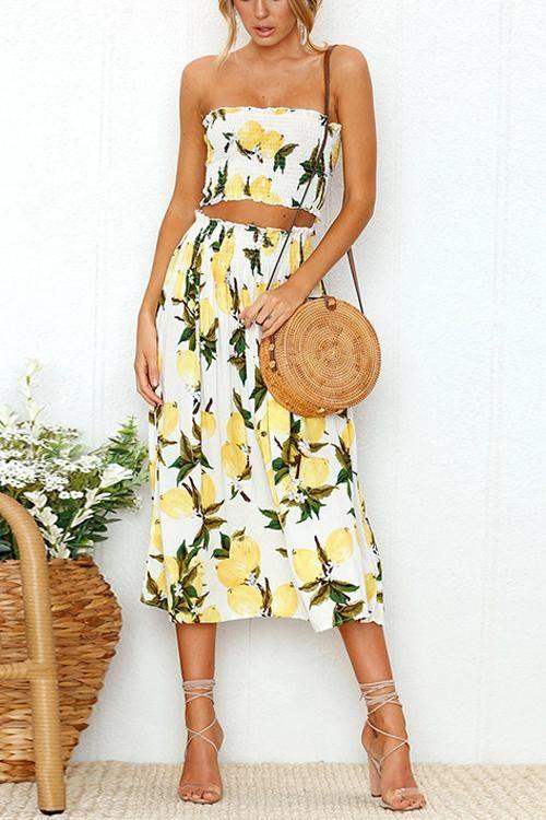 ee5e0d1de7ae Venidress Embrace Lemon Or Sunflower Two-piece Skirt Set in 2019 ...