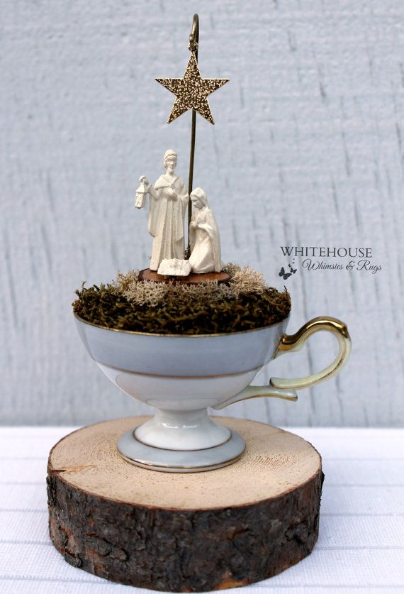 Nativity Tea Cup-Oh Holy Night This miniature nativity scene is a combination of rustic and elegant styles. Using moss, wood slices and a metal