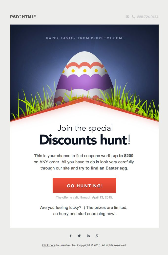 25 best easter newsletters images on pinterest email newsletter join the special easter discount hunt at psd2html negle Choice Image