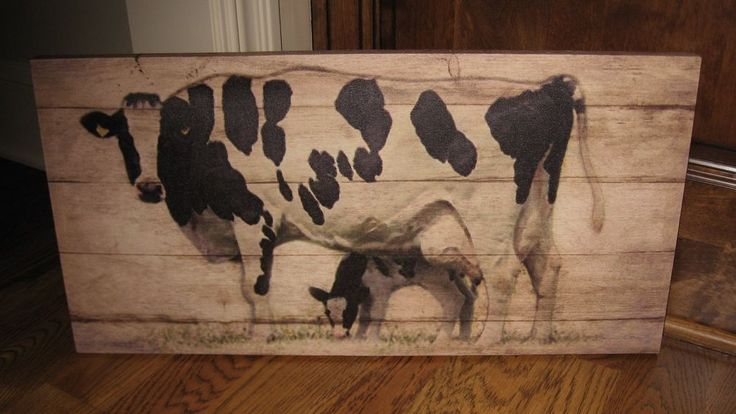 Black Cow Calf Canvas Wall Picturefarmhouse Primitive