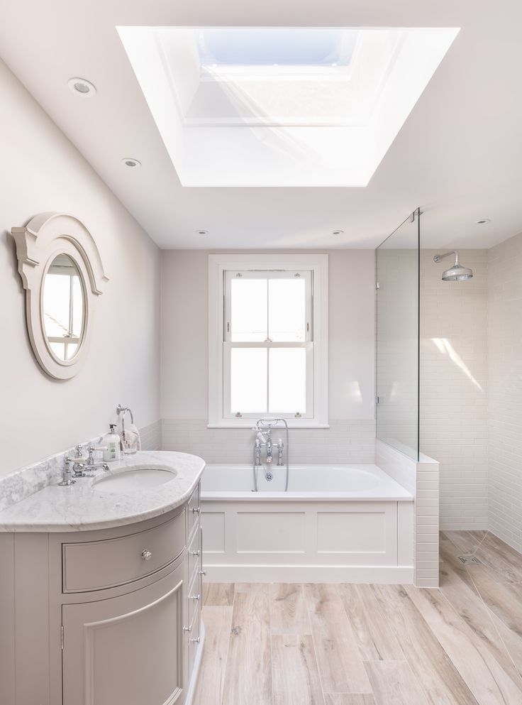 Modern victorian bathroom renovation | bath | walk in shower | rooflight | wood effect tile floor |