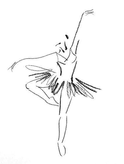Original Feminine Charcoal Sketch - Female Figure Portrait  - Dancer Ballerina Beautiful Girl Sketch
