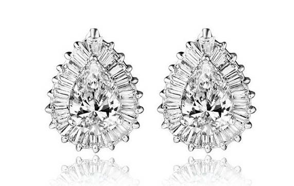 "Tear Drop Zircon Stone earrings Prom Bridal Wedding Gauges tunnels Plugs 8g 6g 4g 2g 0g 00g 7/16"" 1/2"" 9/16"" 5/8"""
