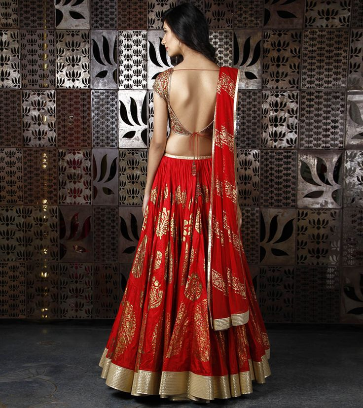 Red Chanderi Silk Lehenga with Foil Print, by Rohit Bal