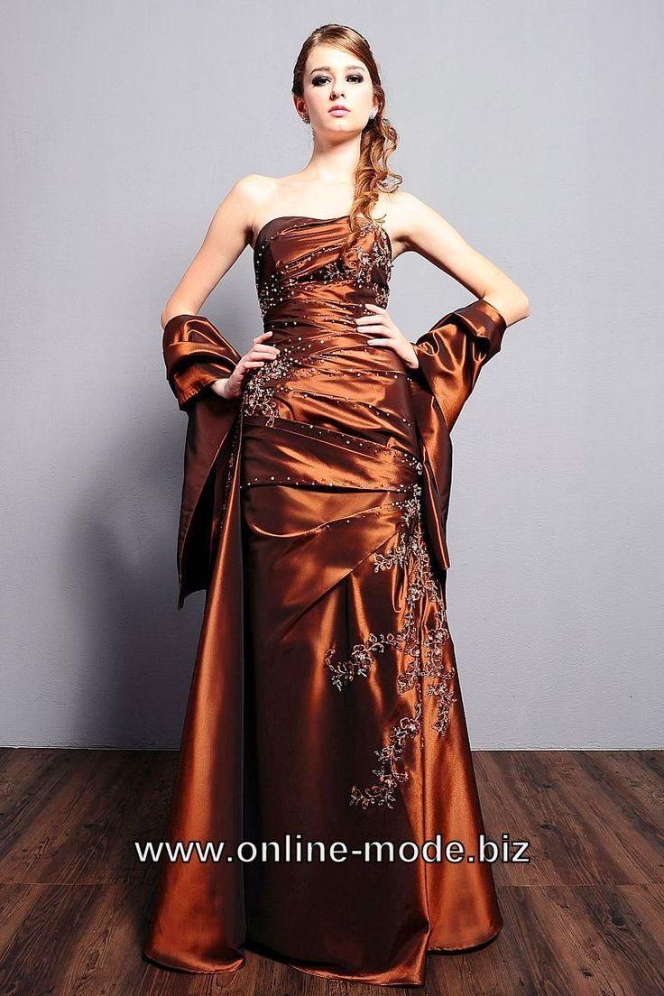Elegantes Abendkleid Online in Braun | Abendkleid, Kleider ...