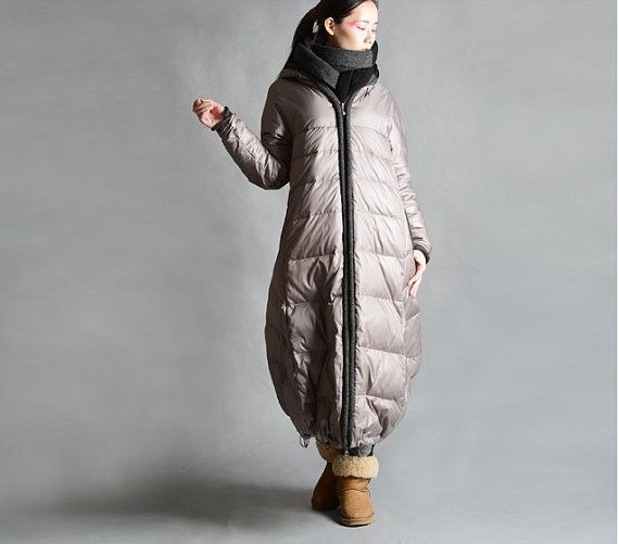 Bud Style Women Winter Down Coat Thick Long Hoodied Goose Down Coat Side Pockets Long Down Jacket Knit Border Custom Made