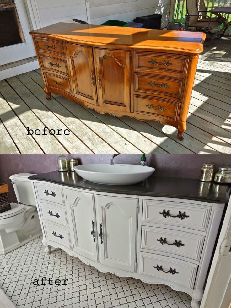 Outdated Dresser Masterfully Converted into Bathroom Vanity with Vessel Sink (source:  RustyFarmHouse.Blogspot.ca).