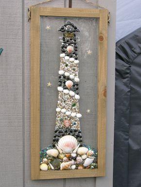 Lighthouse.. Sea shell, Beach Glass, Sea Glass, Starfish Framed Art by SeasidesbyDesign on Etsy