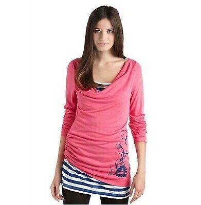 DAMEN Maui Wowie Rosa Longsleeve 2-in-1 Shirt Sleeve Ringel-Langarmshirt 2-Lagen…
