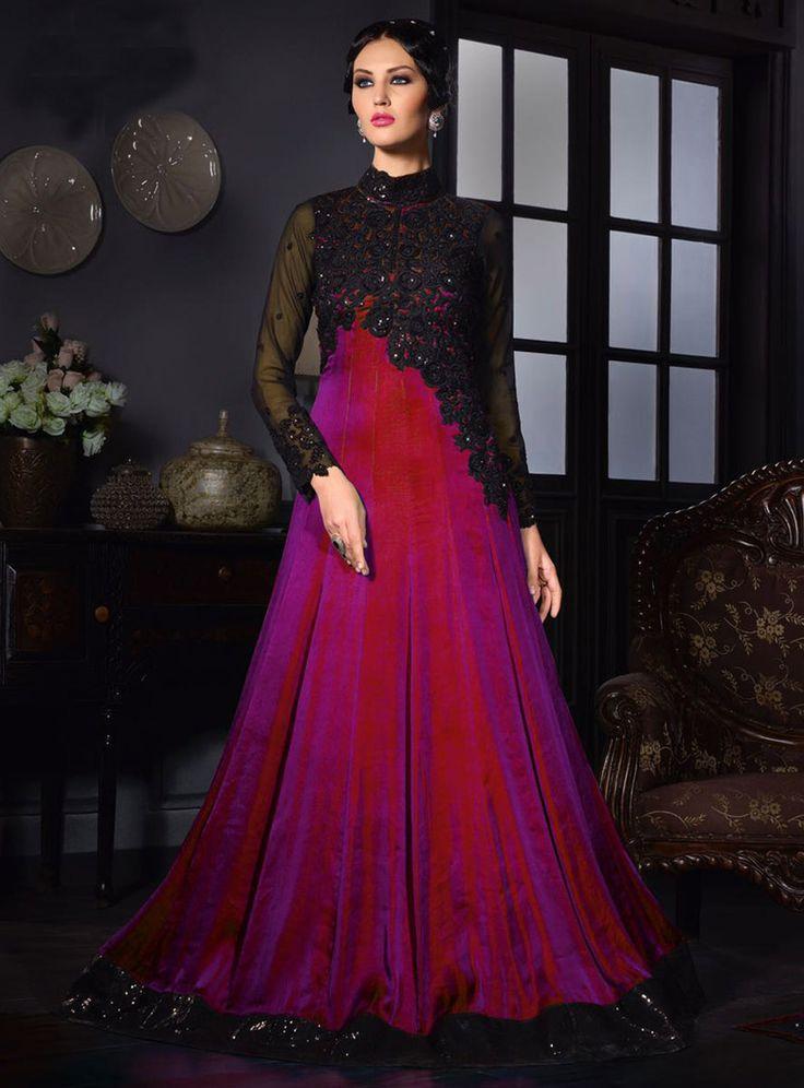 Purple Satin Silk Party Wear Gown 80627