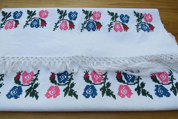 249. Hand embroidered vintage pure linen decor towel linen