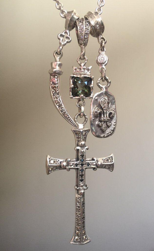 Necklace - Diamond Cross Triple Charm by Roman paul #romanpaul