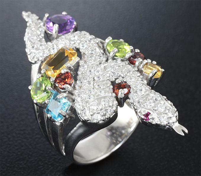 Серебряное кольцо «Змейка» с самоцветами