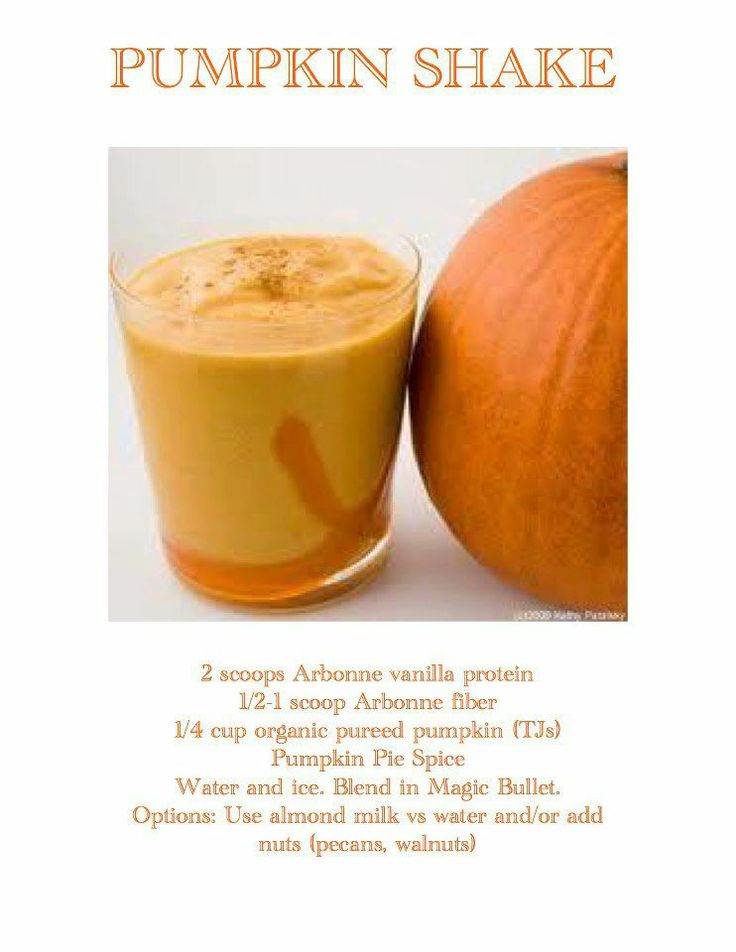 Pumpkin Protein Shake:  with Arbonne's Vanilla Protein Mix (vegan pea protein, dairy-free, soy-free, gluten-free).  May add Arbonne's Daily Fiber Boost or Chia Seeds.  www.jessicabaily.myarbonne.com