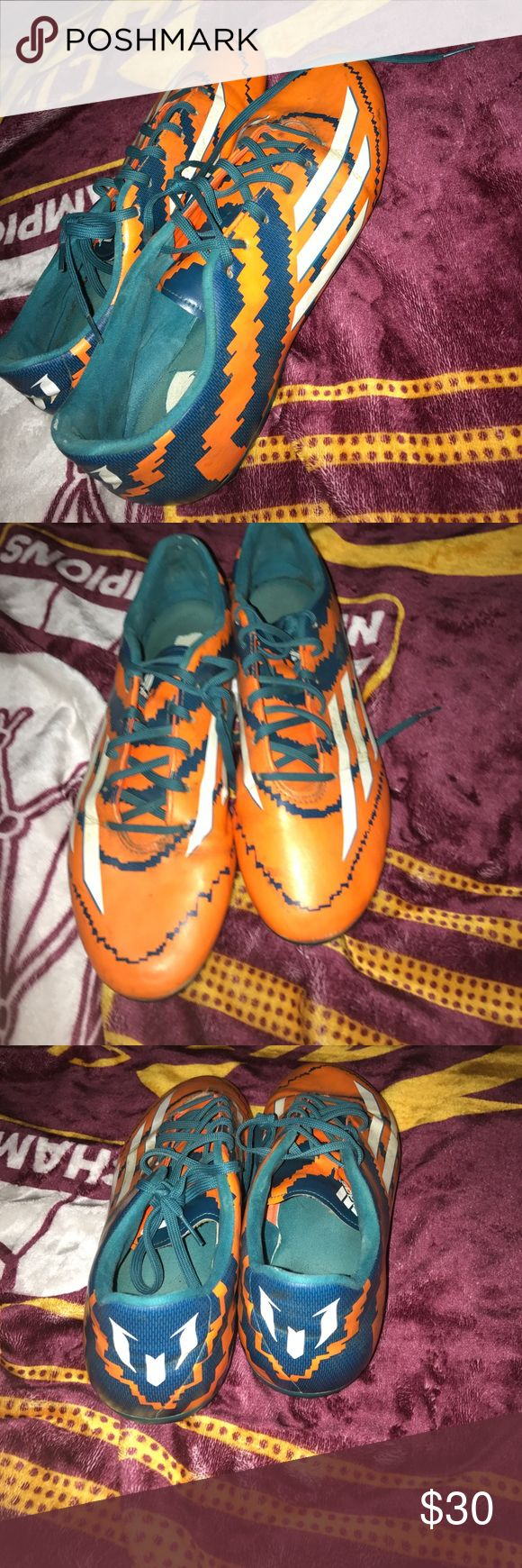 Adidas Messi soccer cleats Good condition 7/10 with some wear on the insole adidas Shoes Athletic Shoes