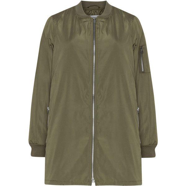 Zizzi Khaki-Green Plus Size Long line bomber jacket (£39) ❤ liked on Polyvore featuring outerwear, jackets, plus size, brown bomber jacket, green bomber jacket, military jackets, khaki bomber jacket and brown jacket