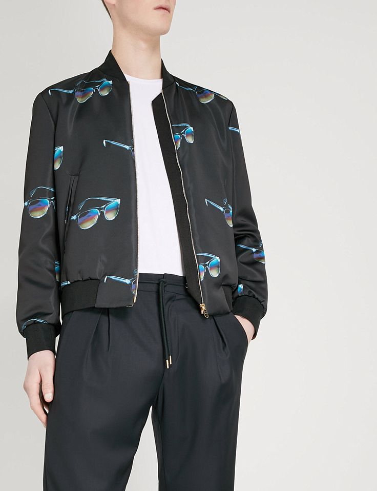PAUL SMITH - Sunglasses-print satin bomber jacket | Selfridges.com