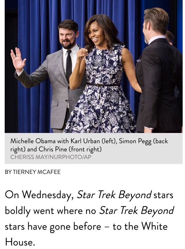 First Lady Of The United States 🇺🇸 #MichelleObama Screens New Star Trek Movie – and Ogles 'Handsome' Stars – with Military Families On Wednesday, July 20, 2016 Star Trek Beyond stars boldly went where no Star Trek Beyond stars have gone before – to the White House. First Lady Michelle Obama welcomed actors Chris Pine, Simon Pegg and Karl Urban to 1600 Penn Ave. for a special screening of Star Trek Beyond, the anticipated new installment in the sci-fi film franchise. The screening, hosted…