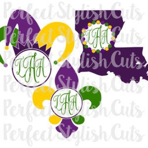 Mardi Gras Monogram SVG, DXF, EPS, png Files for Cutting Machines Cameo or Cricut - Mardi Gras svg, Louisiana svg, Fat Tuesday svg
