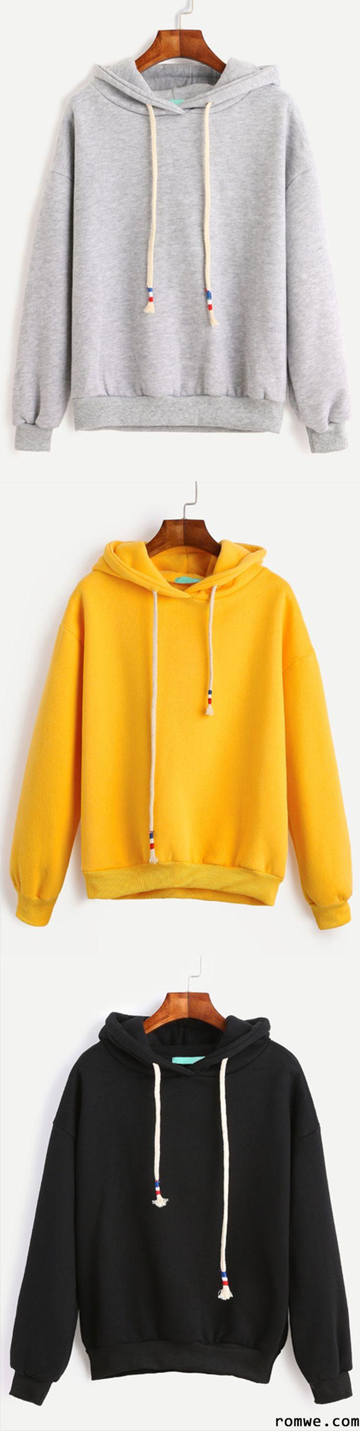 Grey Drop Shoulder Drawstring Hooded Sweatshirt