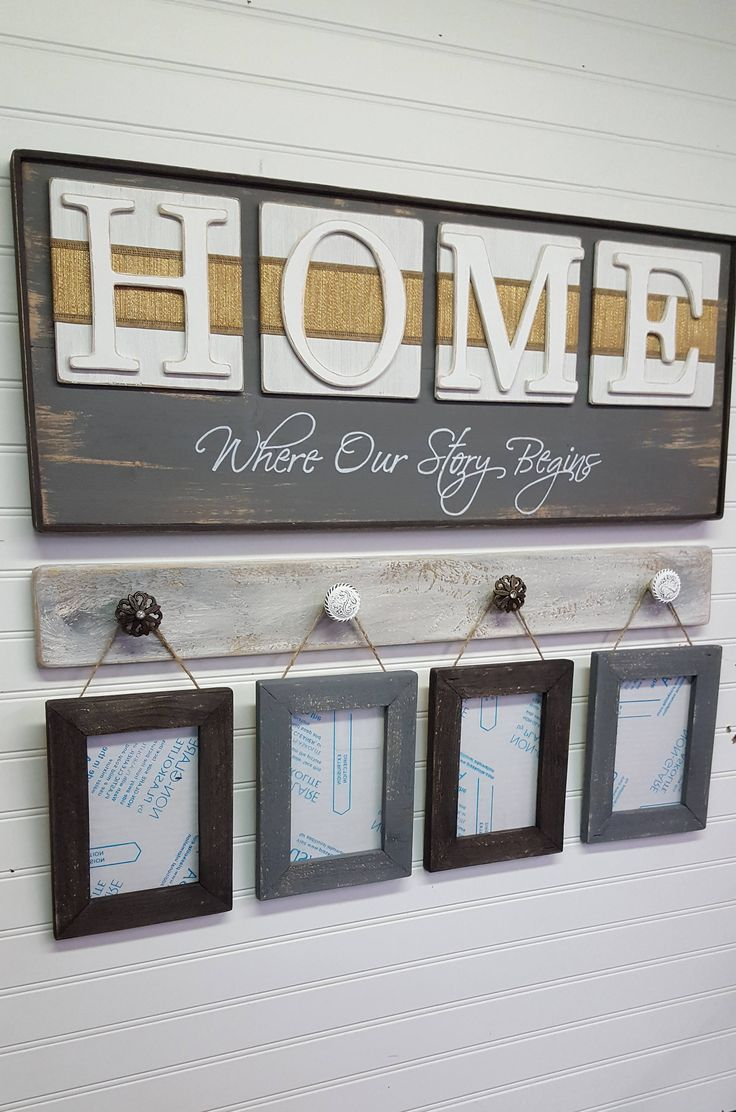 Rustic Home sign Where our story begins is painted and distressed gray can be purchased separately or as a set with picture display hanger and frames all distressed for a warm rustic look. The hand cut letters H-O-M-E are painted white and mounted to white antiqued square boards