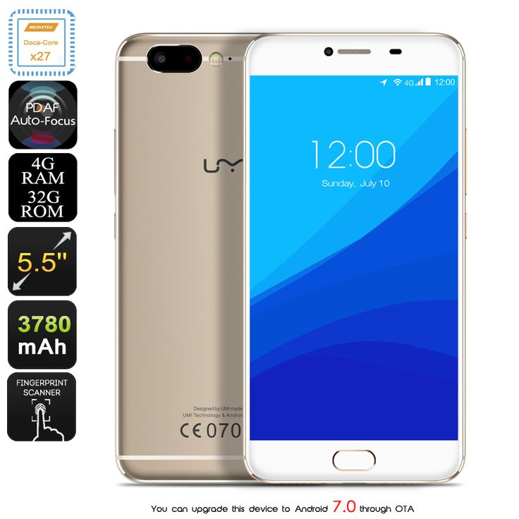 Consumer Electronics>Mobile Phones UMi Z Android Smartphone - Deca-Core Helio X27 CPU, 4GB RAM, 4G, Supports Android 7.0, 13MP Camera (Gold) Manufacturer Specifications General OS Version: Android 6.0
