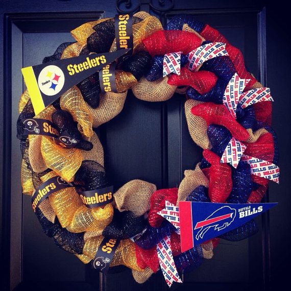 Custom Made NFL House Divided wreath : Buffalo by WreathsbyKrisB