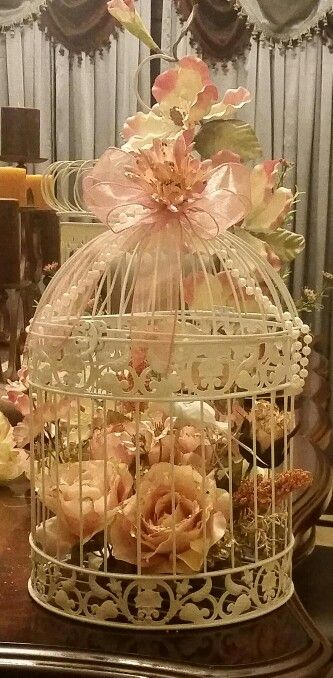Wedding centerpieces birdcage -rose gold