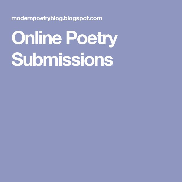Online Poetry Submissions
